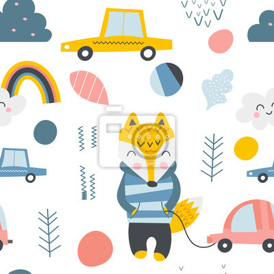 Seamless pattern with cute fox, cars, elements in Scandinavian style. Vector childish texture for textile. Kids illustration for nursery design. Great for baby clothes, greeting card, wrapper.