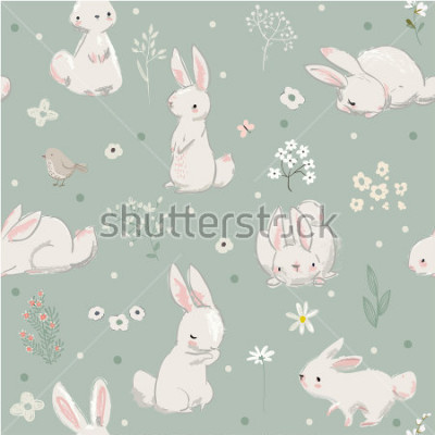 Obraz seamless pattern with cute hares with balloons