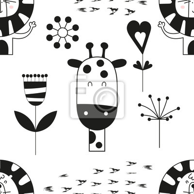 Seamless pattern with cute jungle animals - giraffe, lion in Scandinavian style. Vector Illustration. Kids poster for nursery design. Great for baby clothes, greeting card, wrapping paper.