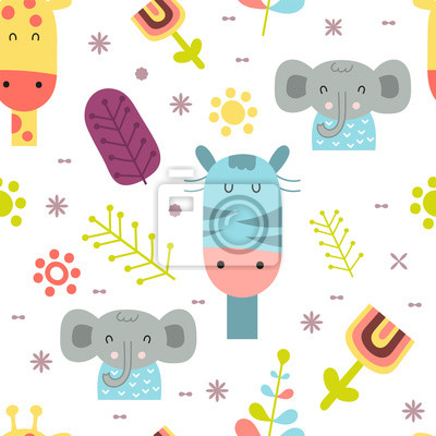 Seamless pattern with cute jungle animals - giraffe, zebra, elephant in Scandinavian style. Vector Illustration. Kids poster for nursery design. Great for baby clothes, greeting card, wrapping paper.
