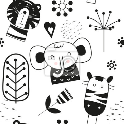 Seamless pattern with cute jungle animals - tiger, zebra, elephant in Scandinavian style. Vector Illustration. Kids poster for nursery design. Great for baby clothes, greeting card, wrapping paper.
