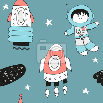 Seamless pattern with cute spaceman and rockets in outer space in Scandinavian style. Vector Illustration. Kids poster for nursery design. Great for baby clothes, greeting card, wrapping paper.