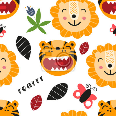 Seamless pattern with cute tigers and lions in Scandinavian style. Vector Illustration. Kids illustration for nursery design. Great for baby clothes, greeting card, wrapper.