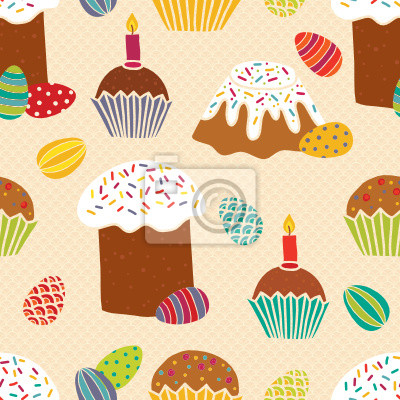 Seamless pattern with easter cakes and eggs