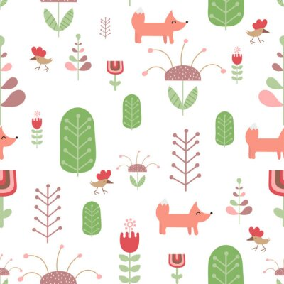 Seamless pattern with foxes, birds, flowers and forest in Scandinavian style. Vector Illustration. Kids illustration for nursery scandi design. Great for baby clothes, greeting card, wrapper.