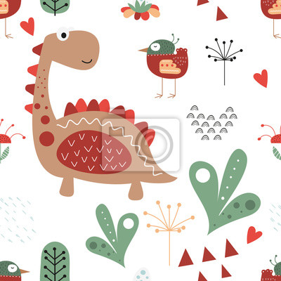 Seamless pattern with hand drawn dinosaur, plant and bird in scandinavian style. Vector Illustration. Kids illustration for nursery design. Dino style trendy for baby clothes, wrapping paper.