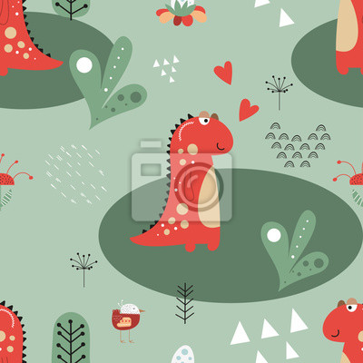 Seamless pattern with hand drawn funny dinosaurs, bird and plants in cartoon style. Vector Illustration. Kids illustration for nursery design. Dino style trendy for baby clothes, wrapping paper.
