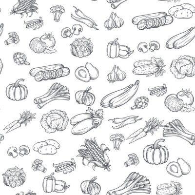 Obraz Seamless pattern with hand drawn vegetables.