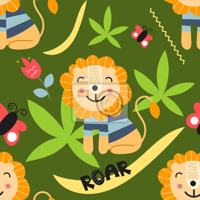 Seamless pattern with lions, text roar, flowers and butterfly in Scandinavian style. Vector Illustration. Kids illustration for nursery scandi design. Great for baby clothes, greeting card, wrapper.