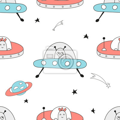 Seamless pattern with space characters - funny UFO, flying saucer, alien in Scandinavian style. Vector Illustration. Kids poster for nursery. Great for baby clothes, greeting card, wrapping paper.