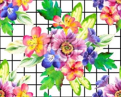 Seamless pattern with watercolor flowers. Beautiful illustrations with plants on black and white geometric background. Composition with Peonies