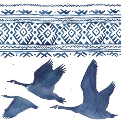 Obraz Seamless pattern with watercolor realistic a flock of geese silhouette and national ornament in blue colors