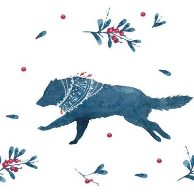 Obraz Seamless pattern with watercolor Scandinavian elements