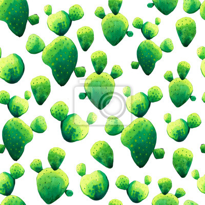 Seamless pattern with watercolor tropical cactus. Beautiful illustration with exotic green leaves on white background.