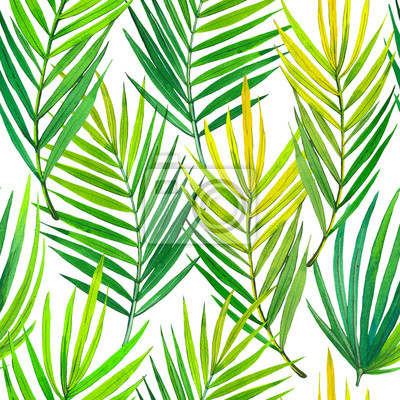 Seamless pattern with watercolor tropical plants. Beautiful illustration with green leaves on white background. Summer composition with palm leaves.
