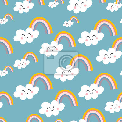 Seamless patternSeamless pattern with cute clouds and rainbow in Scandinavian style. Vector childish sky texture for textile. Kids illustration for nursery design. Great for baby clot with cute clouds