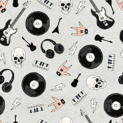 Obraz Seamless Rock background. Abstract music modern pattern.