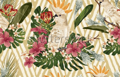 Obraz Seamless tropical pattern background with tropical flowers and cockatoo bird. Tropicana wallpaper, digital paper, raster illustration in vintage Hawaiian style.