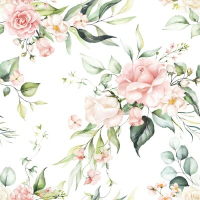 Obraz Seamless watercolor floral pattern - pink flowers, green leaves & branches on white background; for wrappers, wallpapers, postcards, greeting cards, wedding invitations, romantic events.