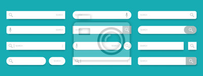 Obraz Search bar. Web UI elements for browsers with text field and search button, mobile application graphic elements collection. Vector set computer illustration searched navigator