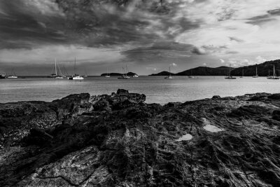 Seascape nature with sky and cloud in evening light, Black and white and monochrome style