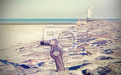 Seaside na krzyż przetwarzane w stylu retro obrazu.