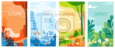 Obraz Seasonal vertical banners for social media stories wallpaper - autumn, winter, spring and summer landscapes