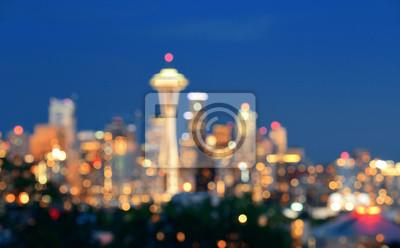 Seattle panoramę miasta nocy