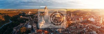 Obraz Segovia Cathedral aerial panorama view sunrise