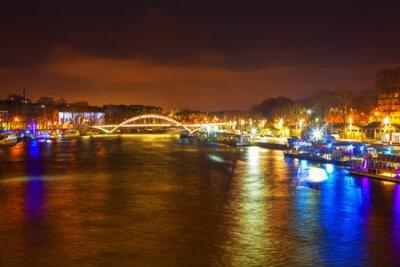 Obraz Seine River and bridge at night in Paris