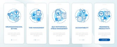 Obraz Self-management skills blue onboarding mobile app page screen with concepts. Productivity walkthrough 5 steps graphic instructions. UI, UX, GUI vector template with linear color illustrations