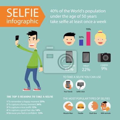 Selfie infografiki i ikony. Ilustracja wektorowa w mieszkaniu