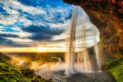Obraz Seljalandfoss waterfall at sunset in HDR, Iceland