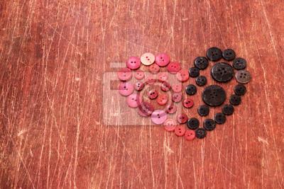 Obraz serce z rocznika czerwone i czarne guziki