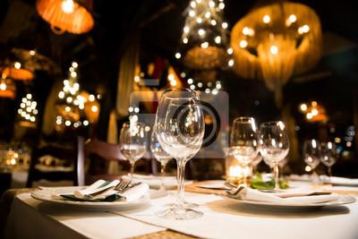 Obraz Served dinner table. Restaurant interior