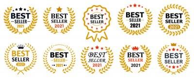 Obraz Set best seller icon design with laurel, best seller badge logo isolated - vector