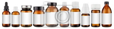 Obraz Set collection row of various brown medicine pill glass pipette dropper bottle with blank copyspace label design pattern without isolated white panorama background
