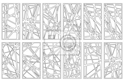 Obraz Set decorative card for cutting. Abstract linear pattern. Laser cut panel. Ratio 1:2. Vector illustration.