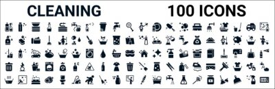 Obraz set of 100 glyph cleaning web icons. filled icons such as shampoo,sanitize,dishwashing detergent,cleaning tools,cleaning house,trash,broom,suspension. vector illustration