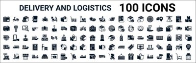 Obraz set of 100 glyph delivery and logistics web icons. filled icons such as scooter,package,delivery day,global logistic,postbox,delivery,packages,transportation. vector illustration
