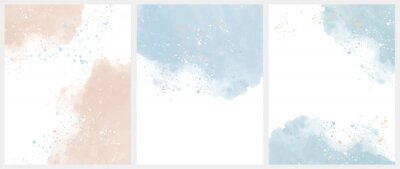 Obraz Set of 3 Delicate Abstract Watercolor Style Vector Layouts. Light Beige and Blue Paint Stains on a White Background. Pastel Color Stains and Splatter Print Set.