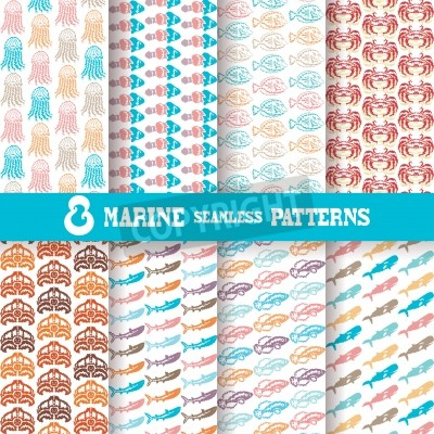 Set of 8 elegant seamless patterns with fishes, crabs, jellyfishes, turtles, sharks and whales, design elements  Beautiful marine backgrounds  Patterns for summer and vacation invitations, greeting ca