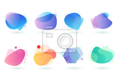 Obraz Set of abstract graphic design elements. Vector illustrations for logo design, website development, flyer and presentation, background, cover design, isolated on white.