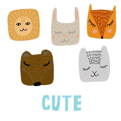 Obraz Set of animals in cartoon style. Cute smiley bear, rabbit, Fox,cat, lion. Scandinavian style. Funny illustration
