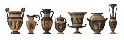 Obraz Set of antique Greek amphoras, vases with patterns, decorations and life scenes. Ancient decorative pots isolated on white background, old clay jugs, ceramic pottery. Vector illustration