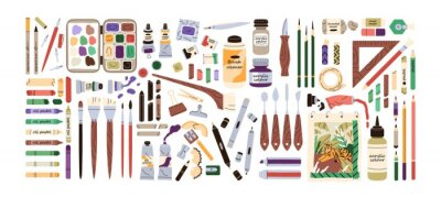 Obraz Set of artist's painting supplies, tool kits and accessories. Crayons, erasers, brushes, colour pencils, acrylic, oil and watercolor dyes. Flat vector illustration of stationery isolated on white