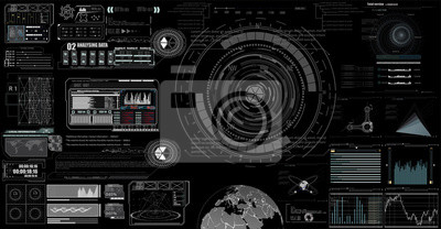 set of black and white infographic elements. Head-up display elements for the web and app. Futuristic user interface. Template UI for app and virtual reality.EPS10