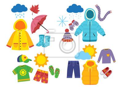 Obraz set of children's season clothes - vector illustration, eps