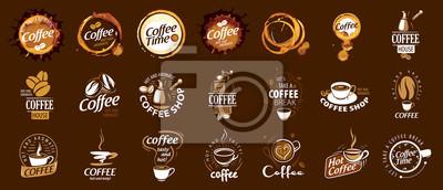 Obraz Set of coffee logos. Vector illustration on brown background