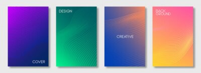 Obraz Set of colorful cover design templates. Abstract futuristic geometric pattern with wavy lines for banner, posters, and wallpaper. Vector